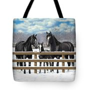 Black Quarter Horses In Snow Tote Bag by Crista Forest