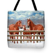 Red Sorrel Quarter Horses In Snow Tote Bag by Crista Forest