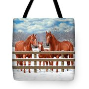 Red Sorrel Quarter Horses In Snow Tote Bag