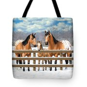Buckskin Appaloosa Horses In Snow Tote Bag by Crista Forest