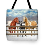 Chestnut Appaloosa Palomino Pinto Black Foal Horses In Snow Tote Bag by Crista Forest
