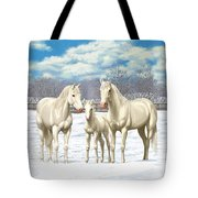 White Horses In Winter Pasture Tote Bag