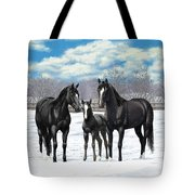 Black Horses In Winter Pasture Tote Bag