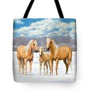 Palomino Horses In Winter Pasture Tote Bag