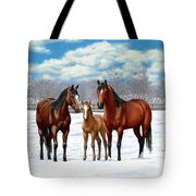 Bay Horses In Winter Pasture Tote Bag