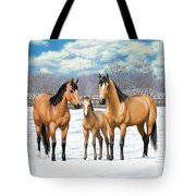 Buckskin Horses In Winter Pasture Tote Bag