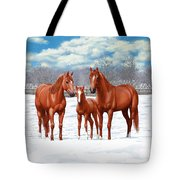 Chestnut Horses In Winter Pasture Tote Bag by Crista Forest