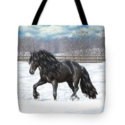 Black Friesian Horse In Snow Tote Bag by Crista Forest
