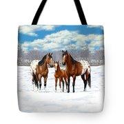Bay Appaloosa Horses In Winter Pasture Tote Bag