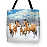 Buckskin Paint Horses In Winter Pasture Tote Bag by Crista Forest