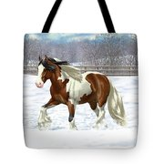 Bay Pinto Gypsy Vanner In Snow Tote Bag