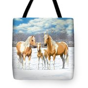 Palomino Paint Horses In Winter Pasture Tote Bag