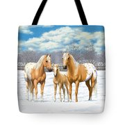 Palomino Appaloosa Horses In Winter Tote Bag