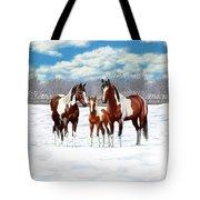 Bay Paint Horses In Winter Tote Bag