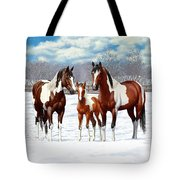 Bay Paint Horses In Winter Tote Bag