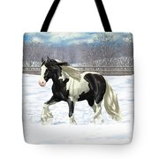 Black Pinto Gypsy Vanner In Snow Tote Bag by Crista Forest