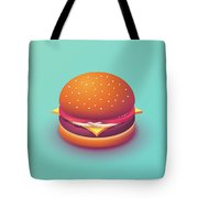 Burger Isometric - Plain Mint Tote Bag