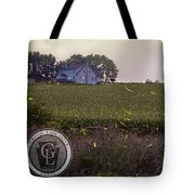 1300 - Fireflies And The House On Hillside Tote Bag