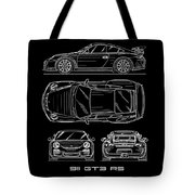 911 Gt3 Rs Blueprint - White Tote Bag