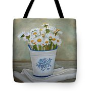 Daisies And Porcelain Tote Bag by Angeles M Pomata