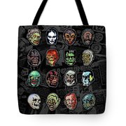 16 Horror Movie Monsters Vintage Style Classic Horror Movies  Tote Bag