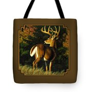 Whitetail Buck - Indecision Tote Bag by Crista Forest