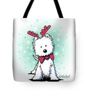 Kiniart Westie Reindeer Tote Bag