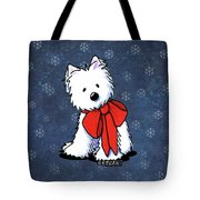 Kiniart Westie In Red Bow Tote Bag