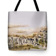 Totem Wolf Sunset Tote Bag