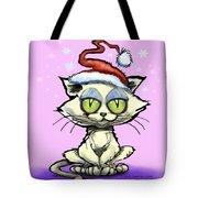 Kitten In Christmas Hat Tote Bag