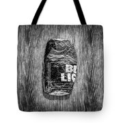 Crushed Blue Beer Can On Plywood 78 In Bw Tote Bag