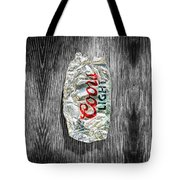 Crushed Light Silver Beer Can On Bw Plywood 79 Tote Bag