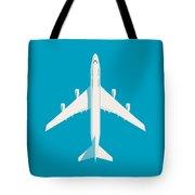 747 Jumbo Jet Airliner Aircraft - Cyan Tote Bag