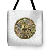 Gold Bitcoin Effigy Over White Leather Tote Bag