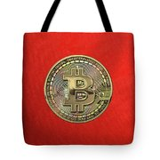 Gold Bitcoin Effigy Over Red Canvas Tote Bag
