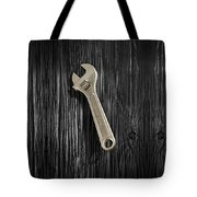 Adjustable Wrench Over Black And White Wood 72 Tote Bag