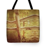 Spading Fork On Chicken Wire Fence Morning Sunlight Tote Bag
