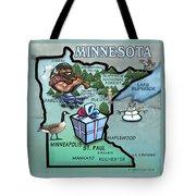 Minnesota Cartoon Map Tote Bag