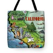 California Cartoon Map Tote Bag