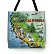 California Cartoon Map Tote Bag