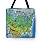 Usa Cartoon Map Tote Bag