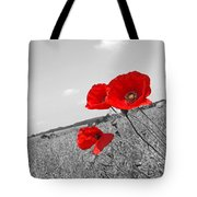 Poppy Fields 2 Black And White Tote Bag