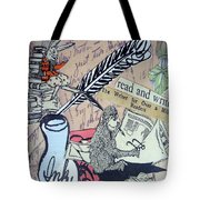 The Studious Rabbit And The Monkey Tote Bag