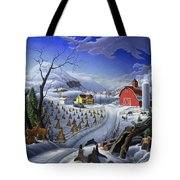 Folk Art Winter Landscape Tote Bag