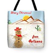 Arizona Tumbleweed Snowman Tote Bag