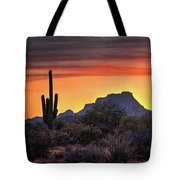 As The Sun Sets On Red Mountain  Tote Bag