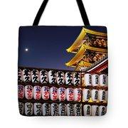 Asakusa Kannon Temple Pagoda And Lanterns At Night Tote Bag by Christine Till