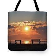 Asbury Park Boardwalk Sunrise Tote Bag