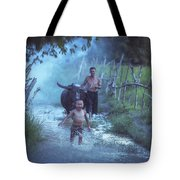 Asian Boy Playing Water With Dad And Buffalo Tote Bag