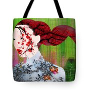 Asian Flower Woman Red Tote Bag